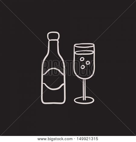 Champagne bottle and two glasses vector sketch icon isolated on background. Hand drawn Champagne bottle and two glasses icon. Champagne bottle and glasses sketch icon for infographic, website or app.