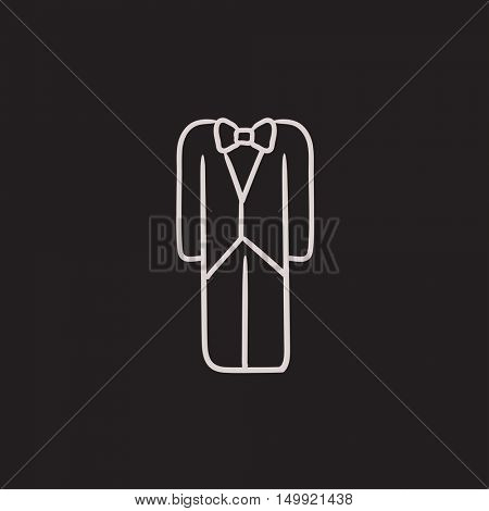 Wedding tuxedo vector sketch icon isolated on background. Hand drawn Wedding tuxedo icon. Wedding tuxedo sketch icon for infographic, website or app.