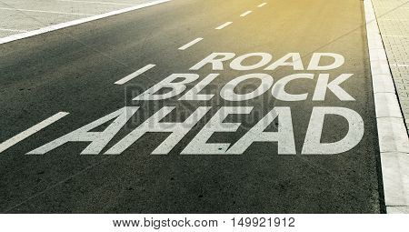 Road block ahead message on the highway lane traffic signs and markings