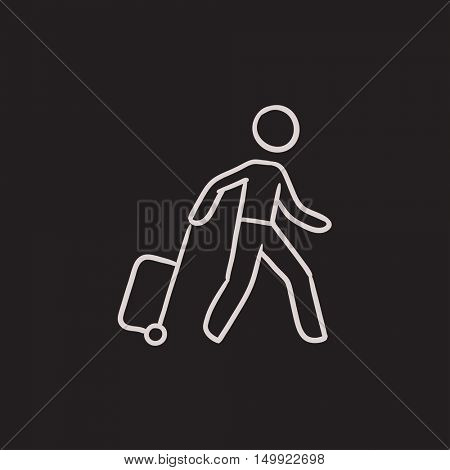 Man with suitcase vector sketch icon isolated on background. Hand drawn Man with suitcase icon. Man with suitcase sketch icon for infographic, website or app.