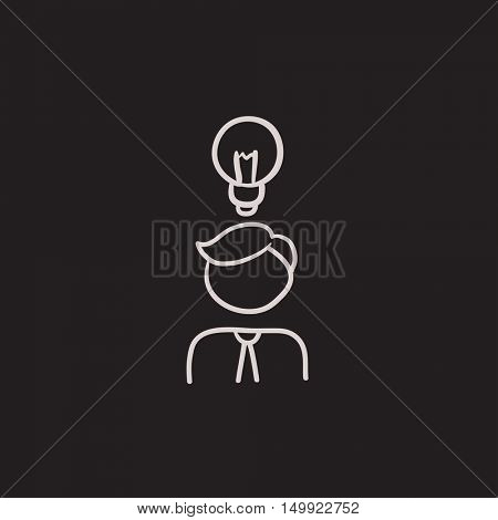 Businessman with idea vector sketch icon isolated on background. Hand drawn Businessman with idea icon. Businessman with idea sketch icon for infographic, website or app.