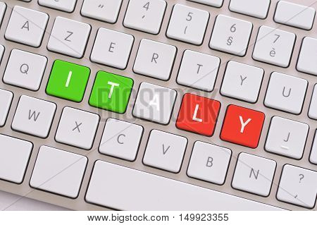 Italy in green white and red on white keyboard
