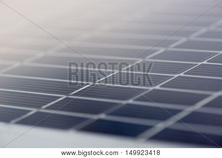 Close-up macro detail of a smart thin film photovoltaic solar panel. Environment and conservation technology background.