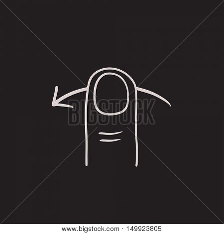 Swipe left touch screen gesture vector sketch icon isolated on background. Hand drawn Swipe left touch screen gesture icon. Swipe left touch screen gesture sketch icon for infographic, website or app.