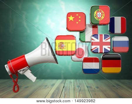 E-learning or online translator concept. Learning languages online. Megaphone and flags. 3d illustration