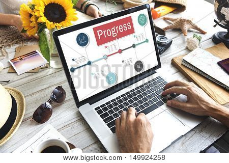 Progress Stock Figures Timeline Concept