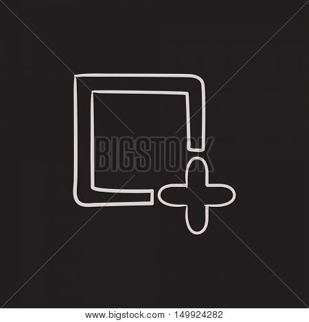 Add file vector sketch icon isolated on background. Hand drawn Add file icon. Add file sketch icon for infographic, website or app.