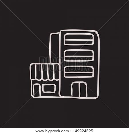 Hotel building vector sketch icon isolated on background. Hand drawn Hotel building icon. Hotel building sketch icon for infographic, website or app.