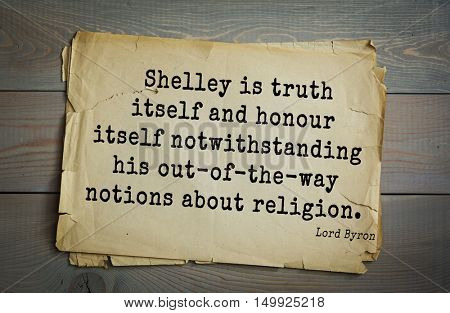 TOP-100. Aphorism by George Gordon Byron - British romantic poet.