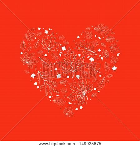 Autumn leaves heart design white outline on orange background