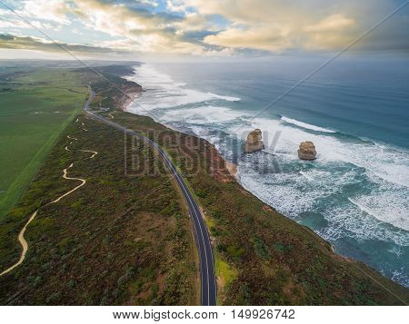 Aerial View Of The Great Ocean Road With Gog And Magog