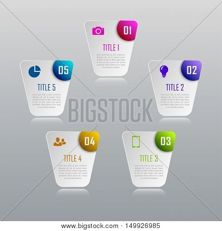 Infographic business concept with 5 options, parts, steps. Infographic design template and marketing icons