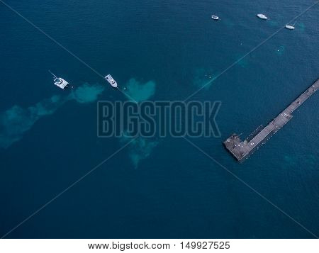 Aerial View Of Flinders Pier With Moored Boats. Melbourne, Australia.