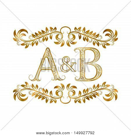 A&B vintage initials logo symbol. Letters A B ampersand surrounded floral ornament. Wedding or business partners initials monogram in royal style.