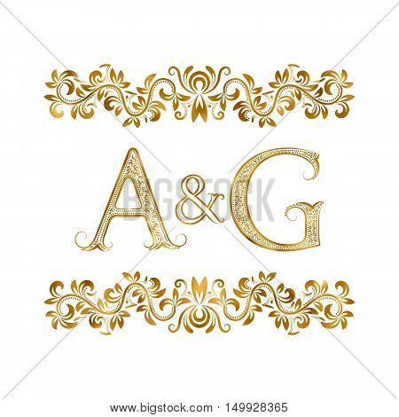 A&G vintage initials logo symbol. Letters A G ampersand surrounded floral ornament. Wedding or business partners initials monogram in royal style.