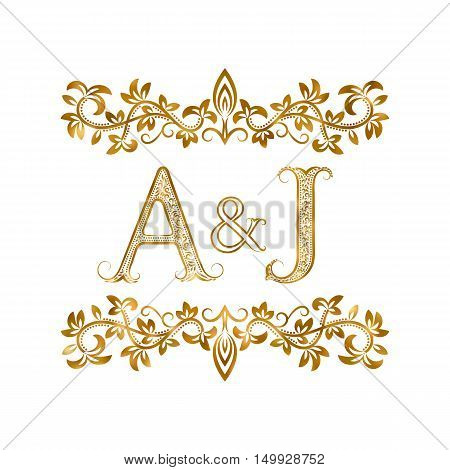 A&J vintage initials logo symbol. Letters A J ampersand surrounded floral ornament. Wedding or business partners initials monogram in royal style.
