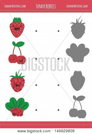 Matching game with berries for preschool children. Find the correct shadow. Funny berries in flat style isolated on white background. Vector illustration for children.
