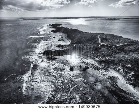 Aerial View Of The Tip Of Mornington Peninsula In Black And White.
