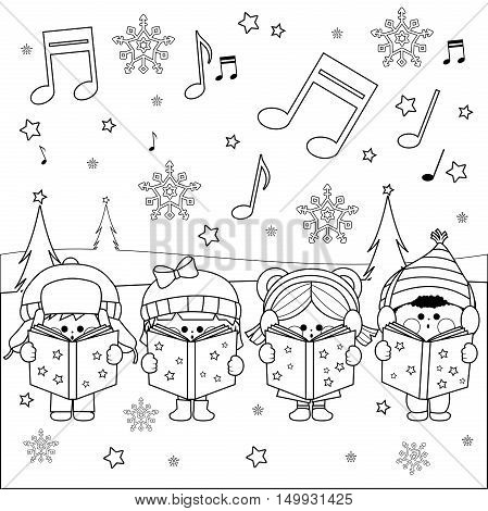 Boys and girls singing Christmas carols at Christmas Eve night outside in the snow. Black and white coloring page illustration