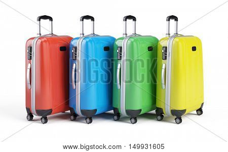 travel luggage bags suitcases isolated on white. 3d render