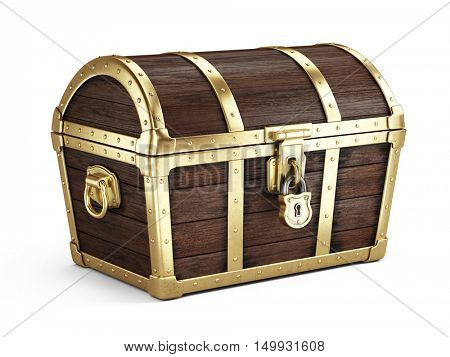 Closed vintage wooden chest isolated on white. 3d render