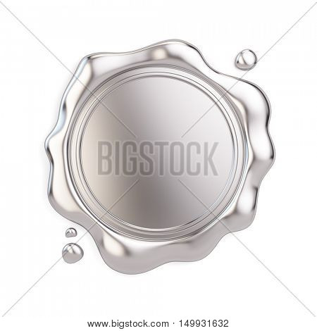 Blank Silver wax seal isolated on white background. 3d illustration