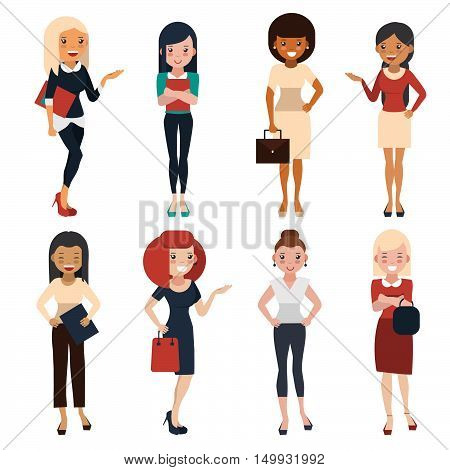 Women in office clothes. Beautiful women in bussiness clothes. Women in flat style. Vector illustration.