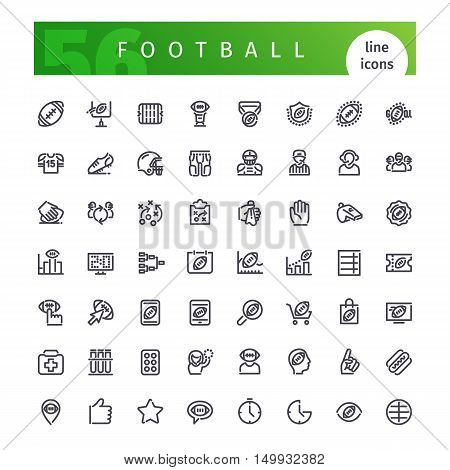 Set of 56 american football  line icons suitable for web, infographics and apps. Isolated on white background. Clipping paths included.