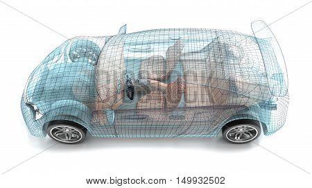 Car design wire model. My own design.