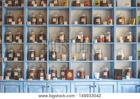 Blue Washed Shelves in Asian Herbal Shop