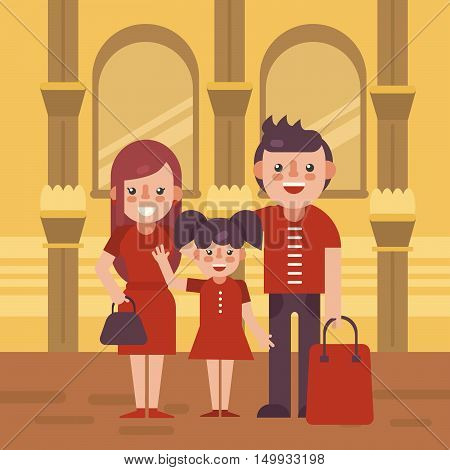 Family shoping flat vector illustration. Young family with purchases in the mall.