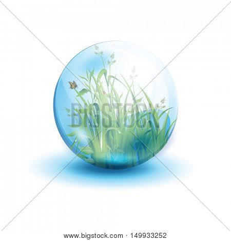 Go green life, environment symbol, in the form of a glass bowl isolated on white background. Vector illustration.