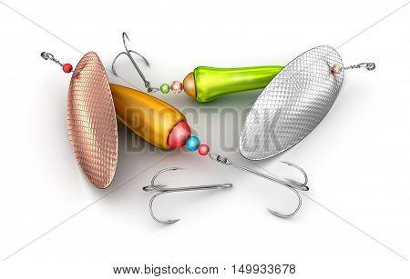 Fishing baits set isolated on white,3D render