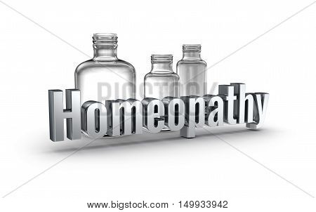 Homeopathy 3d word concept over white,3D render