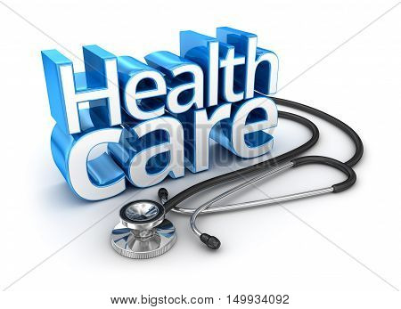 Health Care text 3d Concept ,over white