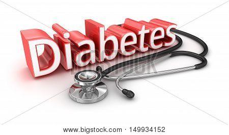 Diabetes text 3d medicical Concept , over white