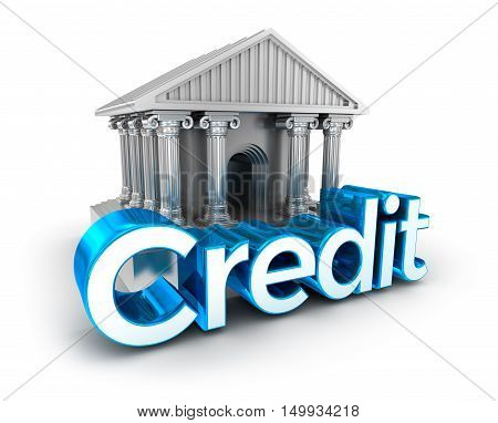 Credit text and bank building 3d Concept