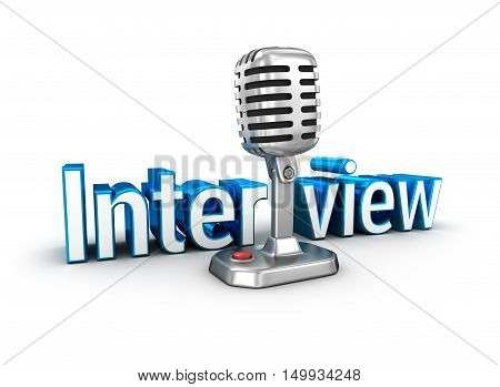 Interview text and microphone 3d Concept , over white
