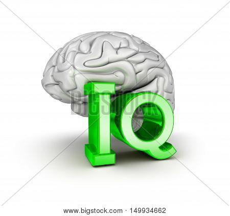 Iq test and brain 3d Concept, 3D render