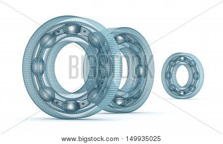 Wire bearing design isolated on white, isolated on white