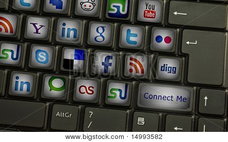 Computer Keyboard With Social Media Keys