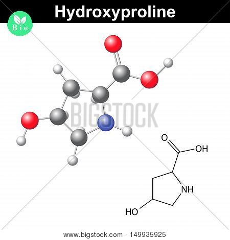 Hydroxyproline non essential heterocyclic amino acid main collagen compound 2d and 3d vector illustration isolated on white background eps 8