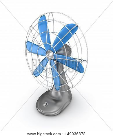 Old style electric fan 3D rendering,isolated on white