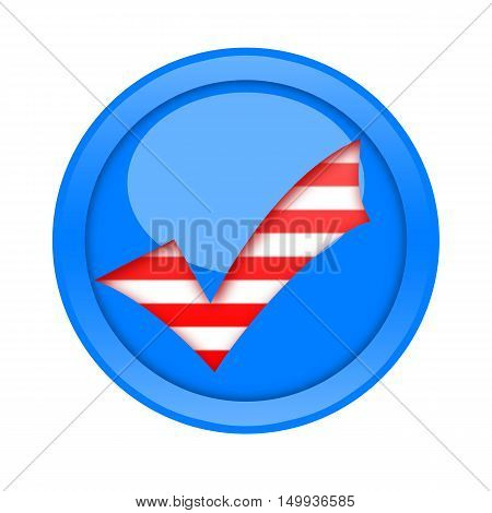 Check mark button in american style isolated on white background