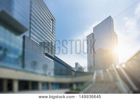 low angle view of modern metallic skyscrapers,suzhou,china.