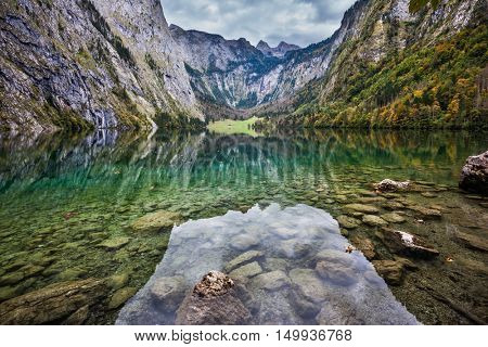 Unique optical effects on the lake Obersee. Berchtesgaden in Germany on the border with Austria