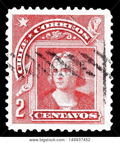CHILE - CIRCA 1905 : Cancelled postage stamp printed by Chile, that shows Columbus.