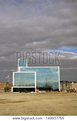 AARHUS DENMARK - SEPTEMBER 18 2016: New building with glass facade at the port of Aarhus- Aarhus will be European capital of culture in 2017. September 18 2016