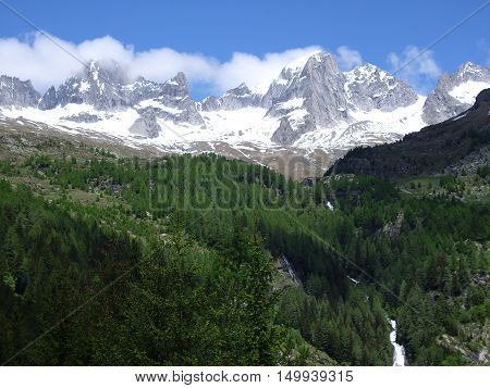 Landscape view of Alps in spring season
