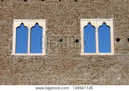 Double lancet windows in a medieval castle